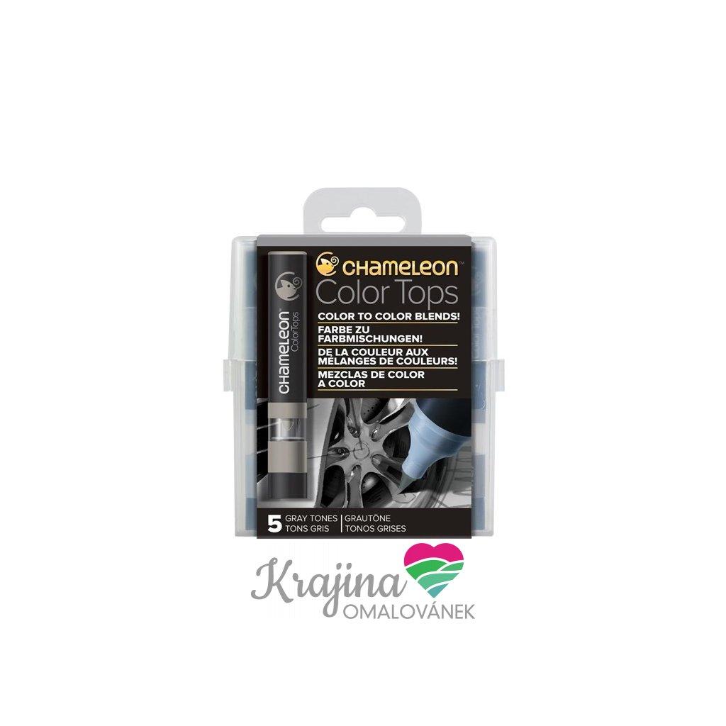 CHAMELEON, CT4509, Color tops, tonovací nástavce pro popisovače,  5 ks, Grey tones