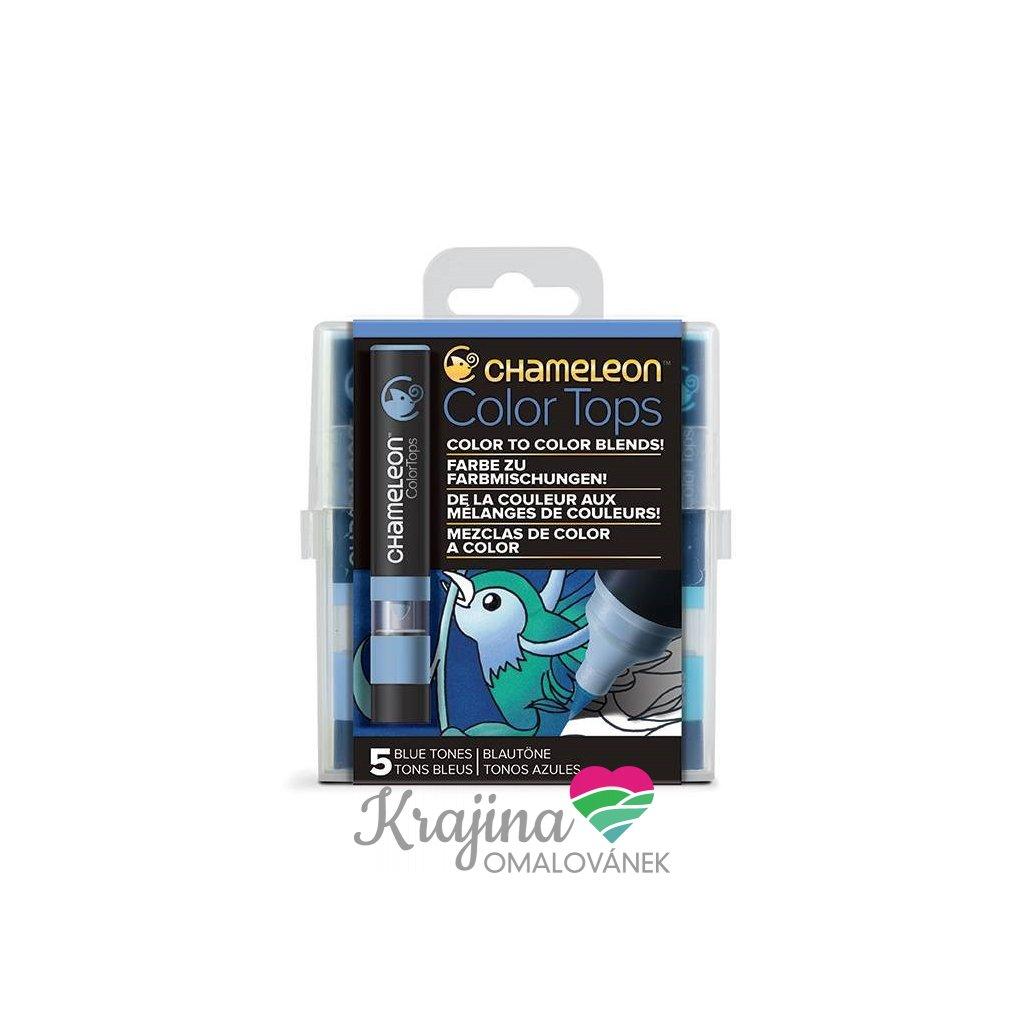 CHAMELEON, CT4513, Color tops, tonovací nástavce pro popisovače,  5 ks, Blue tones