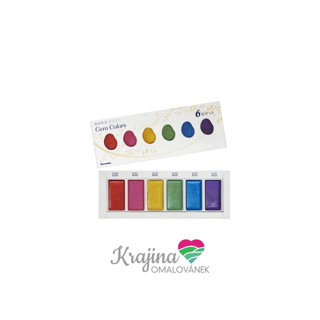Kuretake, MC20GC/6V, Gansai Tambi, metalické akvarelové barvy, 6 odstínů, Gem colors