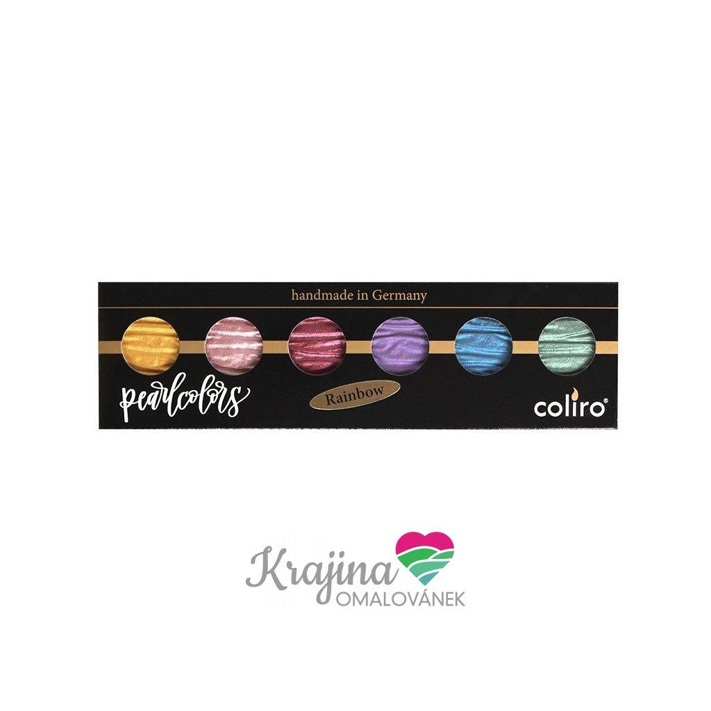 Coliro, M710, Pearl colors, metalické, perleťové akvarelové barvy, 6 odstínů, Rainbow