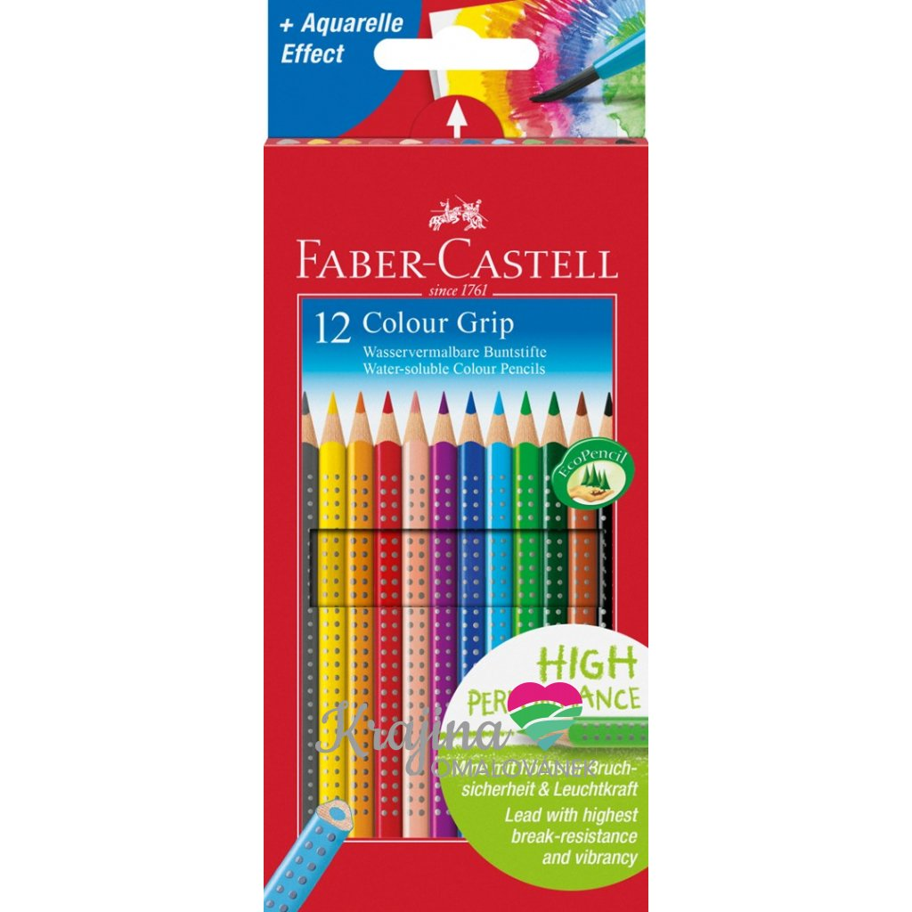 Faber-Castell, 112412, Colour Grip, akvarelové pastelky, 12 ks