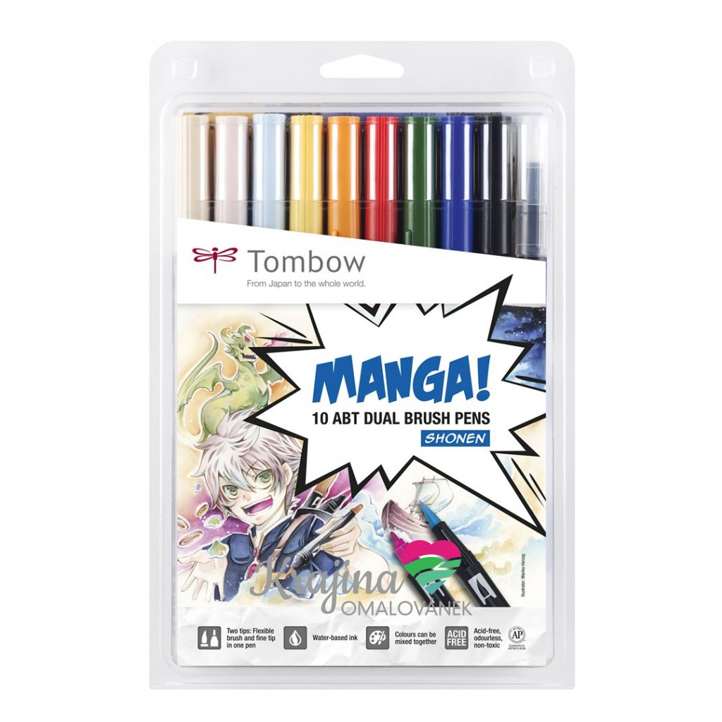 Tombow, ABT-10C-MA, ABT Dual Brush pen, oboustranné popisovače, Manga set Shonen, 10 ks