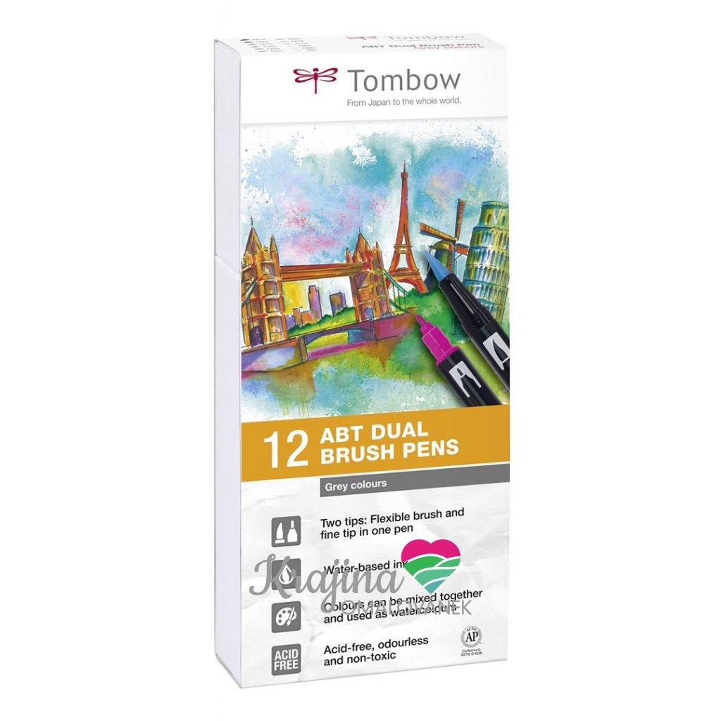 Tombow, ABT-12P-3, ABT Dual Brush pen, oboustranné popisovače, Grey tone, 12 ks