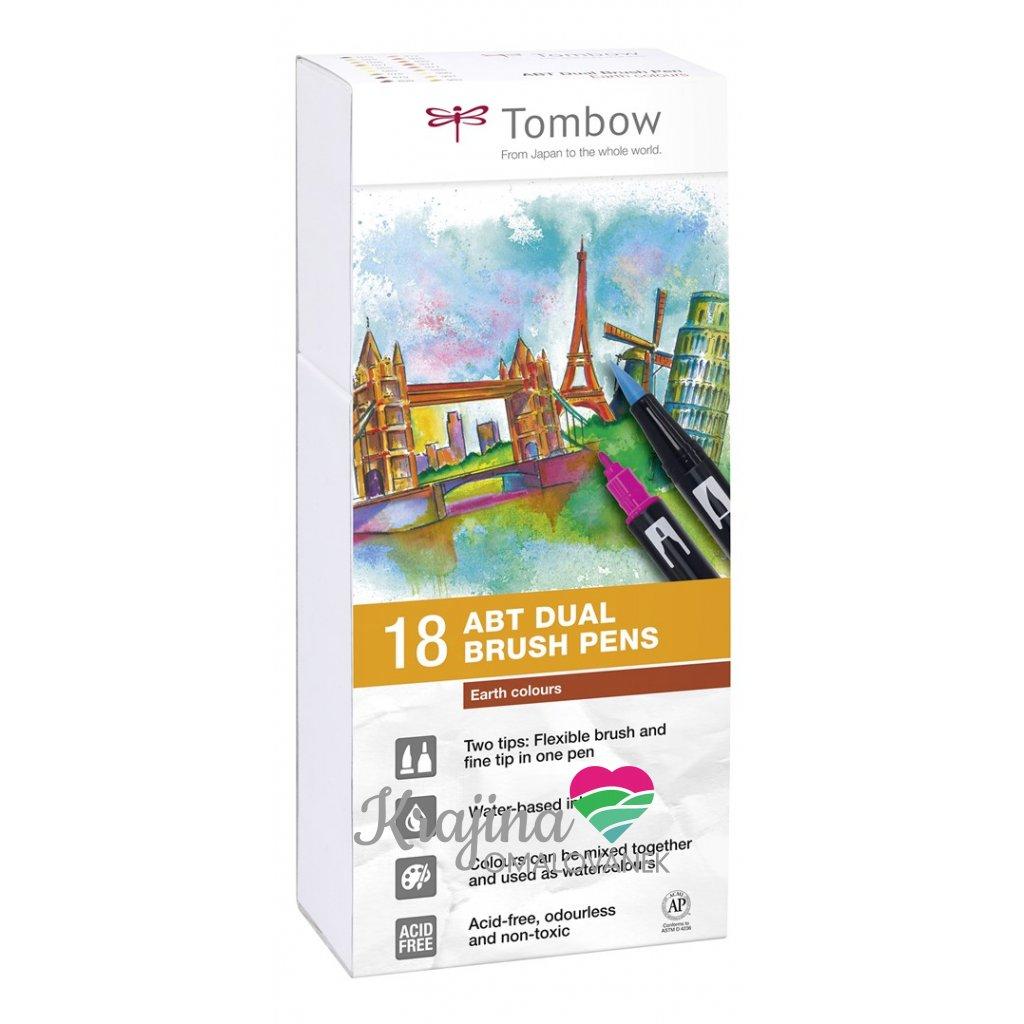 Tombow, ABT-18P-3, ABT Dual Brush pen, oboustranné popisovače, Earth tone, 18 ks