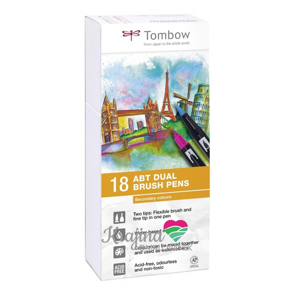 Tombow, ABT-18P-2, ABT Dual Brush pen, oboustranné popisovače, Secundary tone, 18 ks