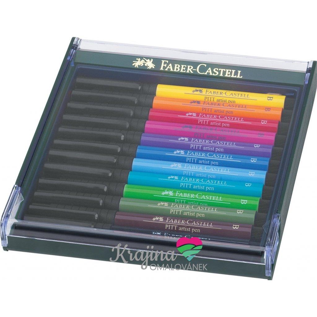Faber-Castell, 267421, PITT artist pen, brush popisovače, základní odstíny, 12 ks