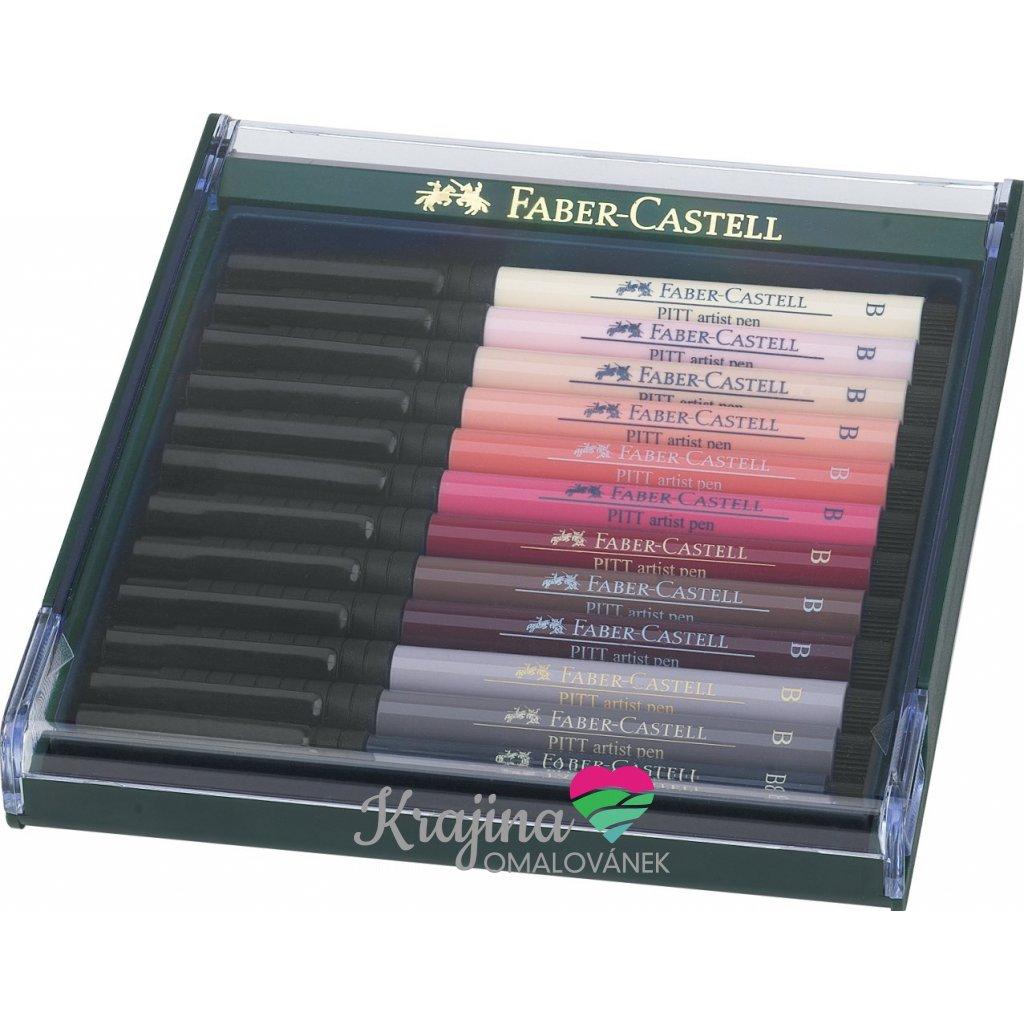 Faber-Castell, 267424, PITT artist pen, brush popisovače, tělové odstíny, 12 ks