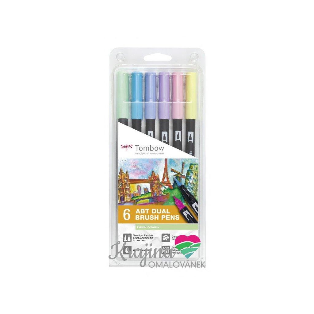 Tombow, ABT-6P-2, ABT Dual Brush pen, oboustranné popisovače, pastel tone, 6 ks