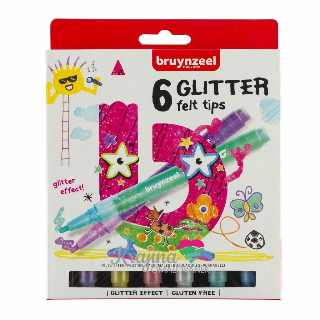 Bruynzeel, 7945K06, Glitter felt tips set, třpytivé fixy, 6 ks