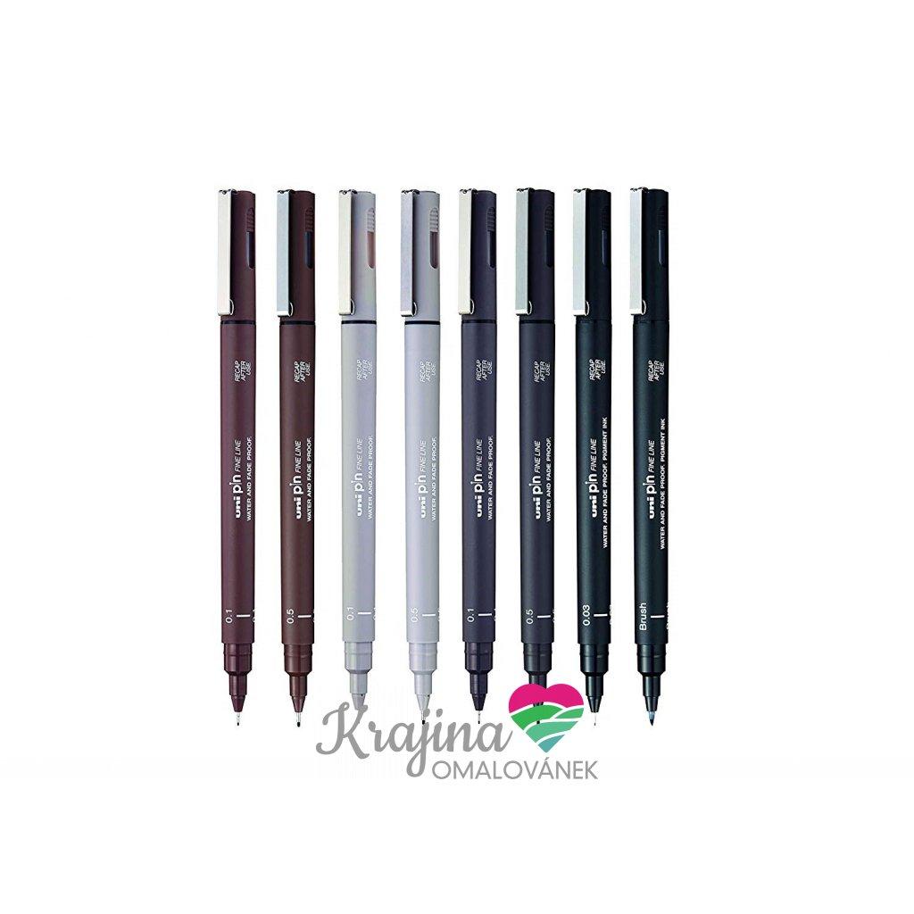 Uni-ball, KPMITS-0800, PIN, sada linerů a brush popisovače, sépie, šedá, černá, 8 ks