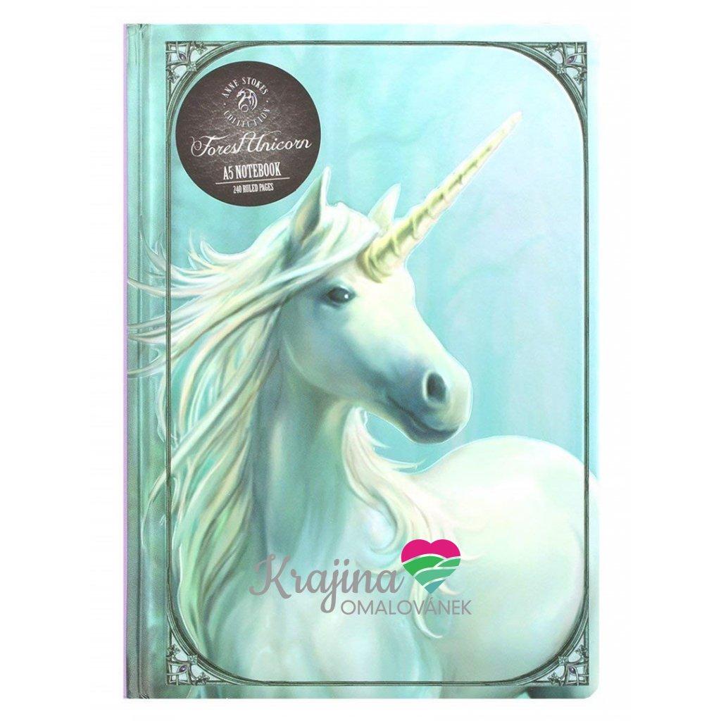 Zápisník A5, NBA5AS01, Anne Stokes, motiv Forest unicorn, 1 ks