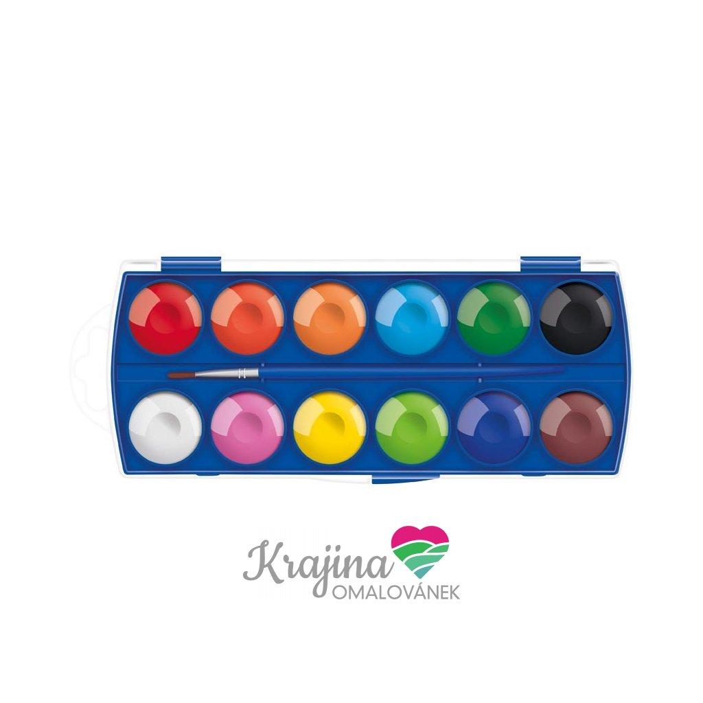 MFP, 6300358, sada akvarelových vodových barev, 3 cm, 12 odstínů