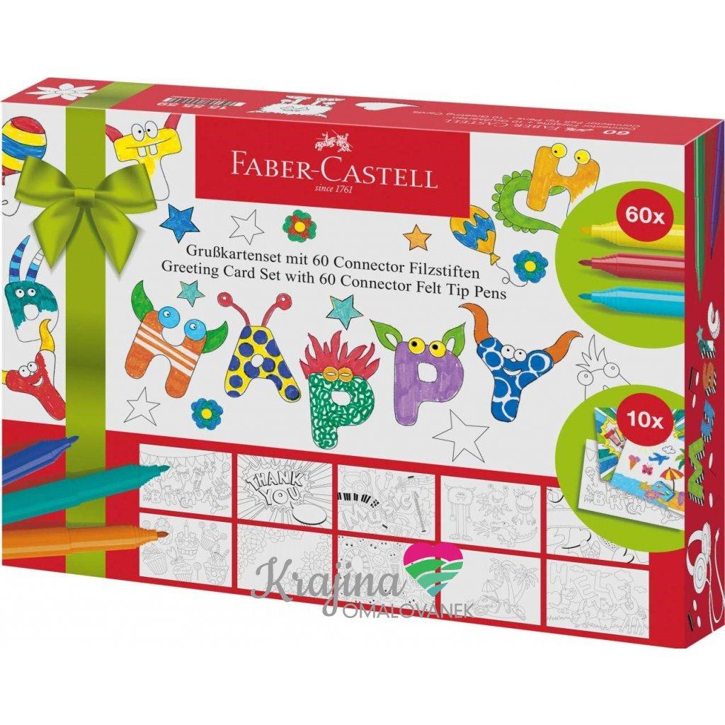 Faber-Castell, 155559, Connector, fixy a pohlednice, dárkové balení, 60 + 10 kusů