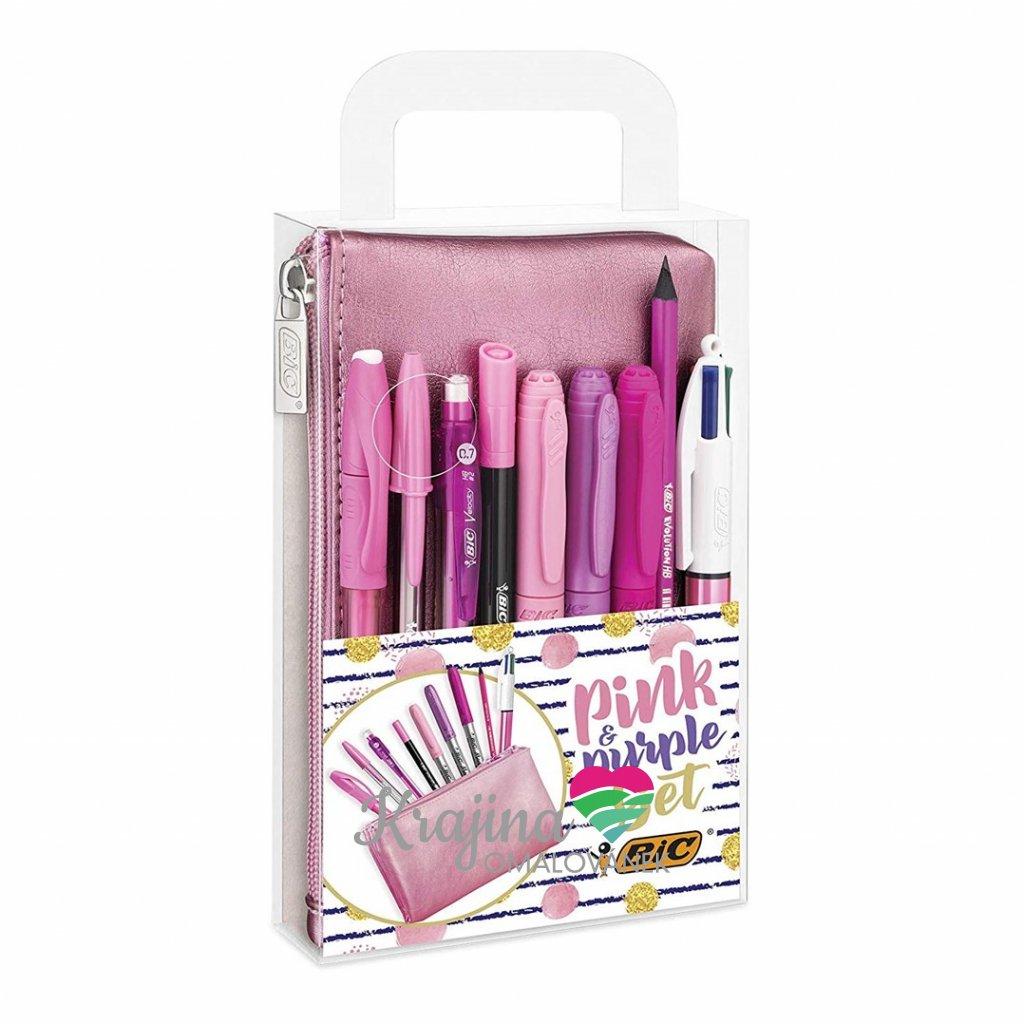 Bic, 964280, Pink & Purple Set, sada psacích potřeb s pouzdrem, 10 ks