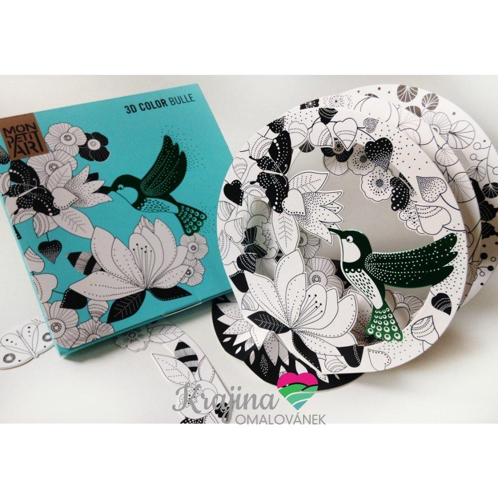 Mon Petit Art, C3RMIN2, 3D Color Bulle, 3D omalovánka kolibřík