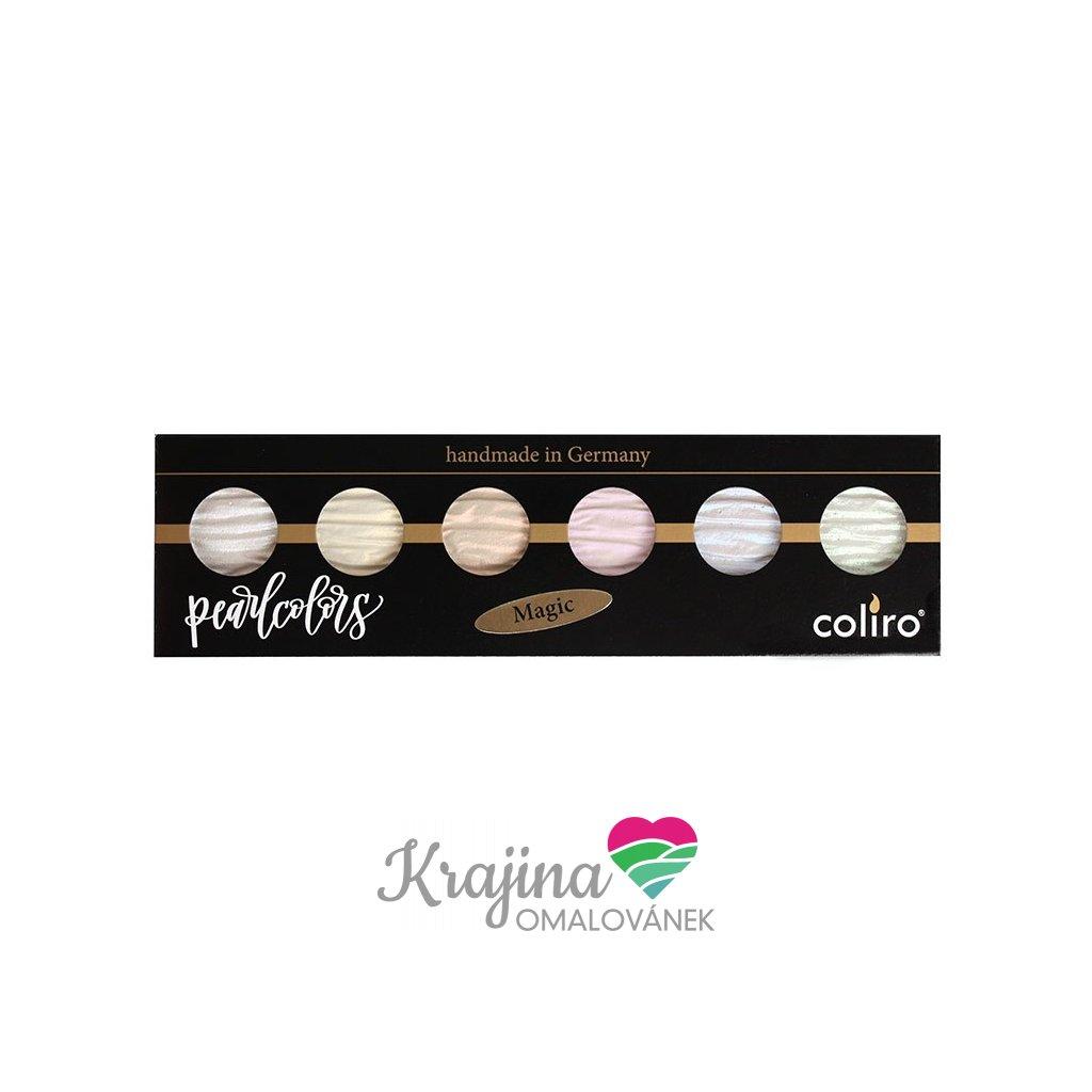 Coliro, M720, Pearl colors, metalické, perleťové akvarelové barvy, 6 odstínů, Magic