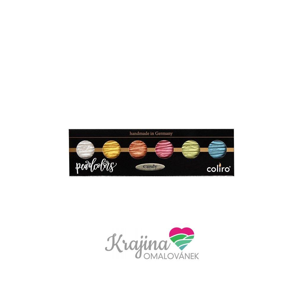 Coliro, M770, Pearl colors, metalické, perleťové akvarelové barvy, 6 odstínů, Candy
