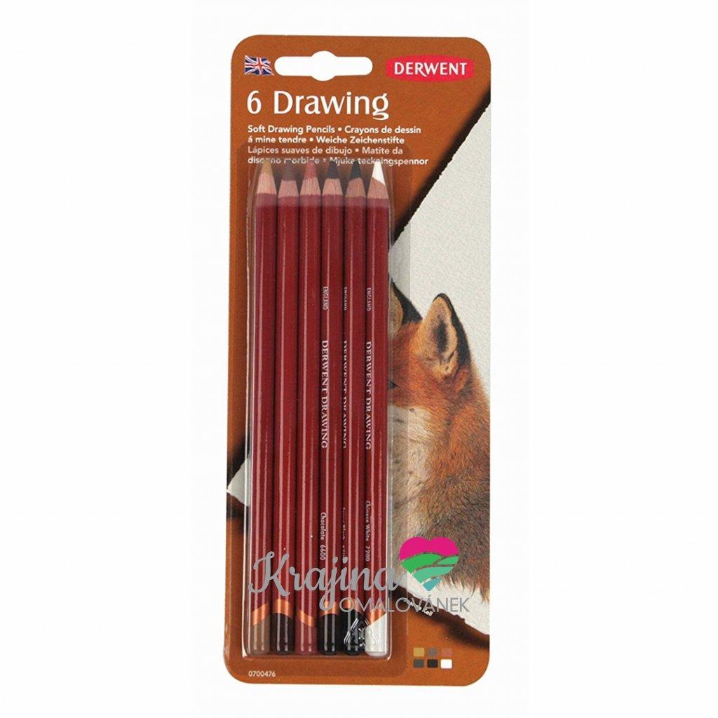 Derwent, 0700476, Drawing, sada pastelek, přírodní odstíny, 6 ks