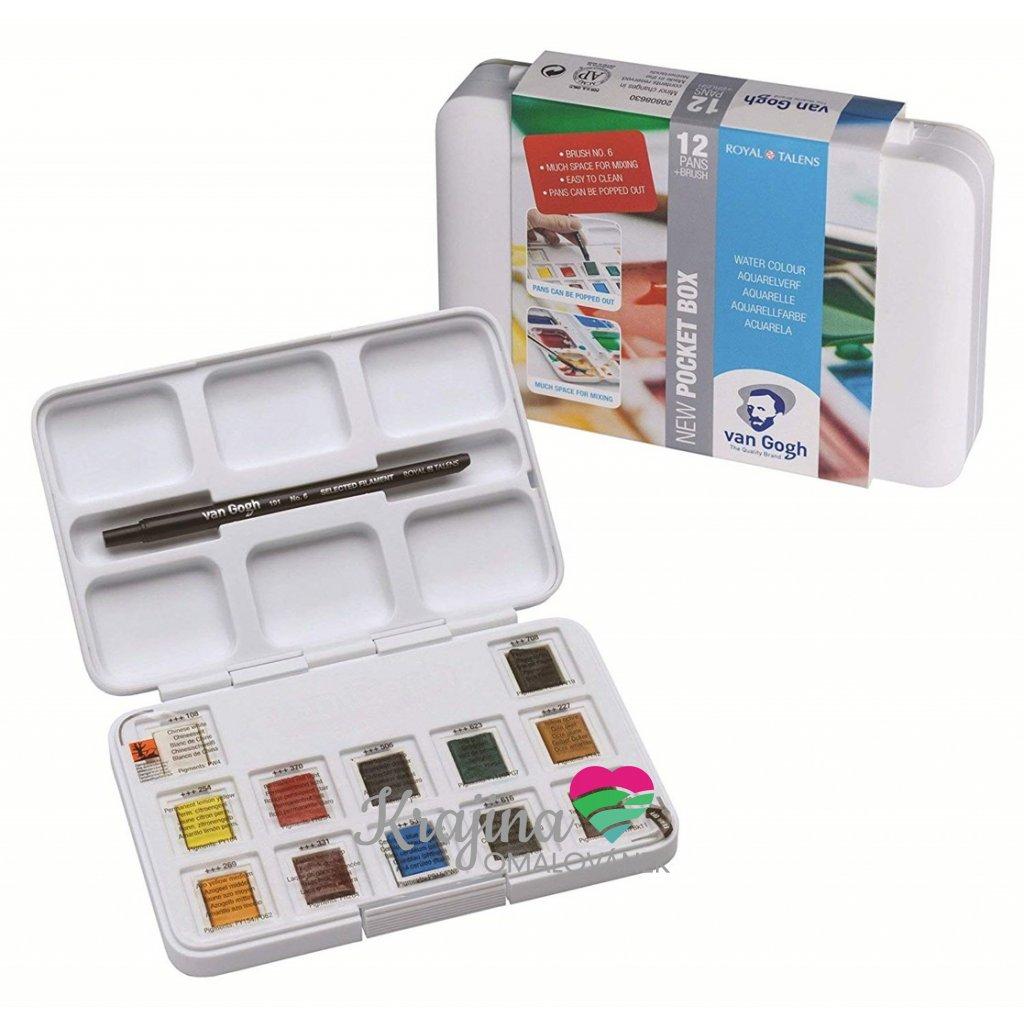 Royal Talens, 20808631, Van Gogh pocket box, kapesní sada akvarelových barev, 1/2 pánvičky, 12 ks