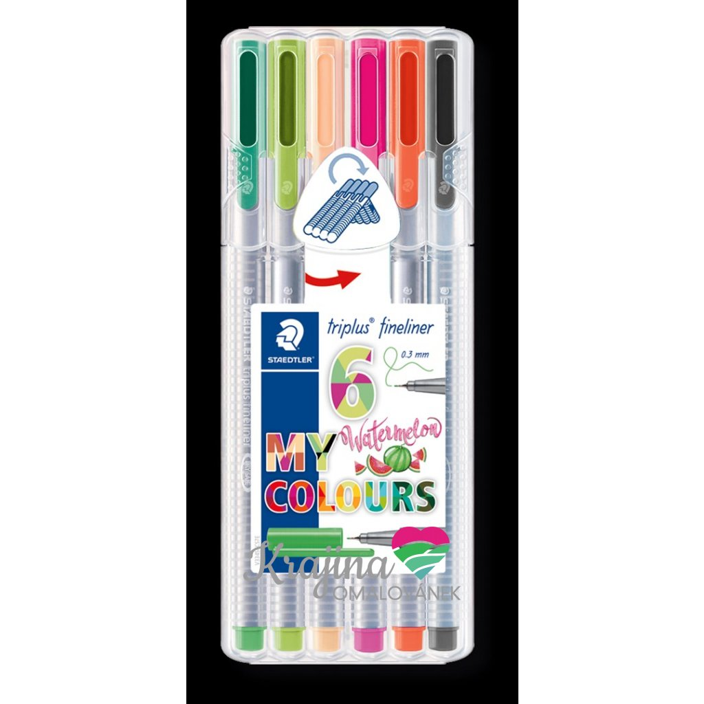 Staedtler, 334 SB6CS7, Triplus 334, linery 6 ks - Watermelon