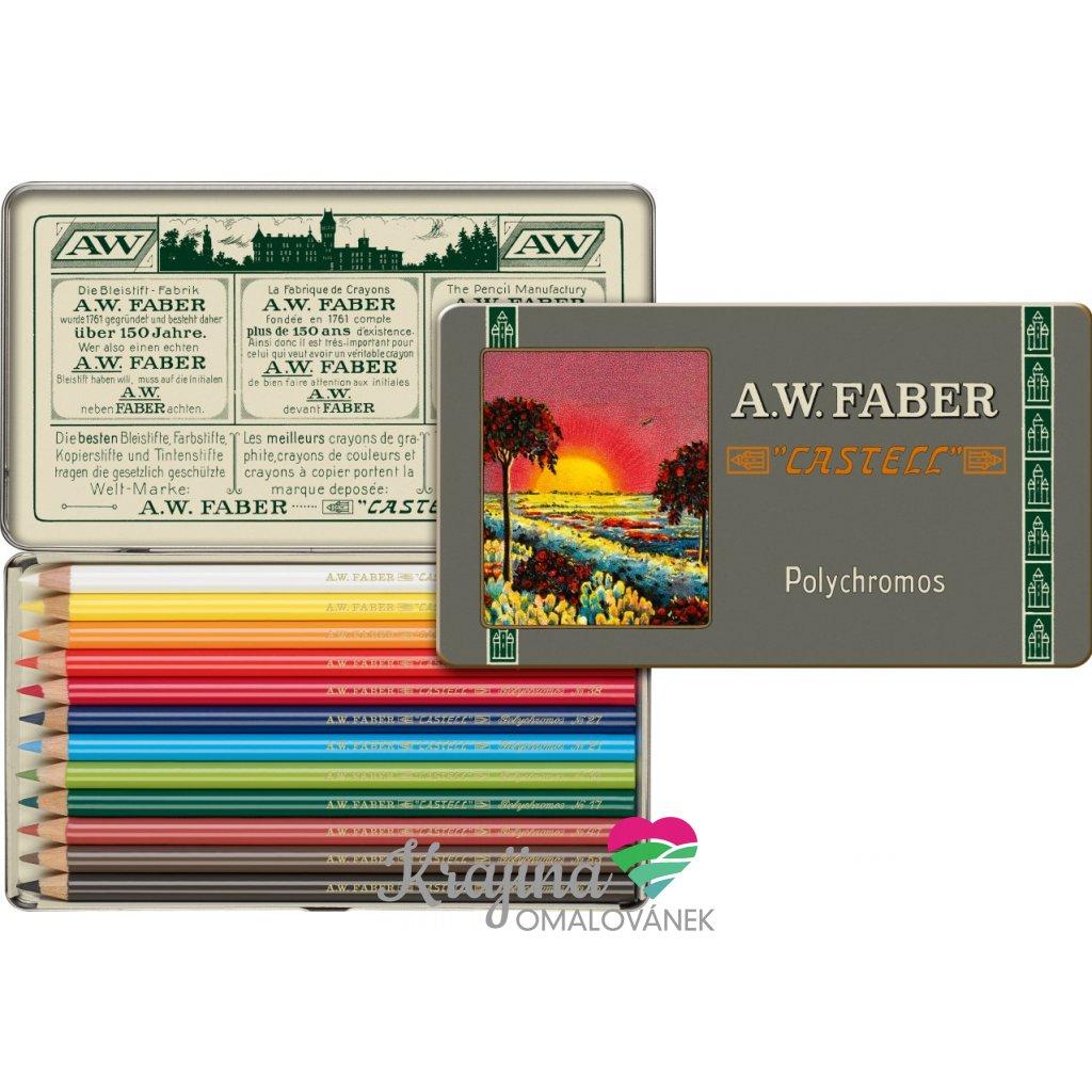 Faber-Castell, 211001, Polychromos, umělecké pastelky nejvyšší kvality, limitovaná edice, retro, 12 ks