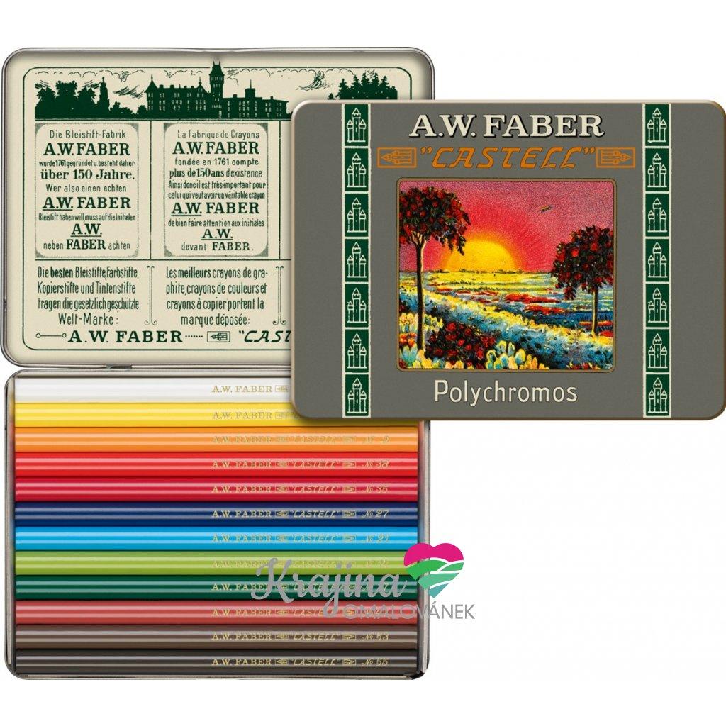 Faber-Castell, 211004, Polychromos, umělecké pastelky nejvyšší kvality, limitovaná edice, retro, krátké, 12 ks
