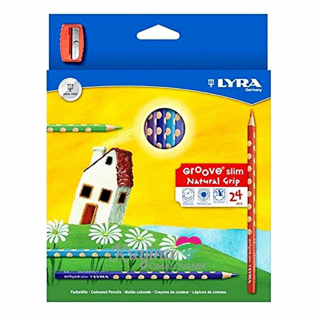 Lyra, 6300293, Groove slim, sada pastelek s ořezávátkem, 24 ks