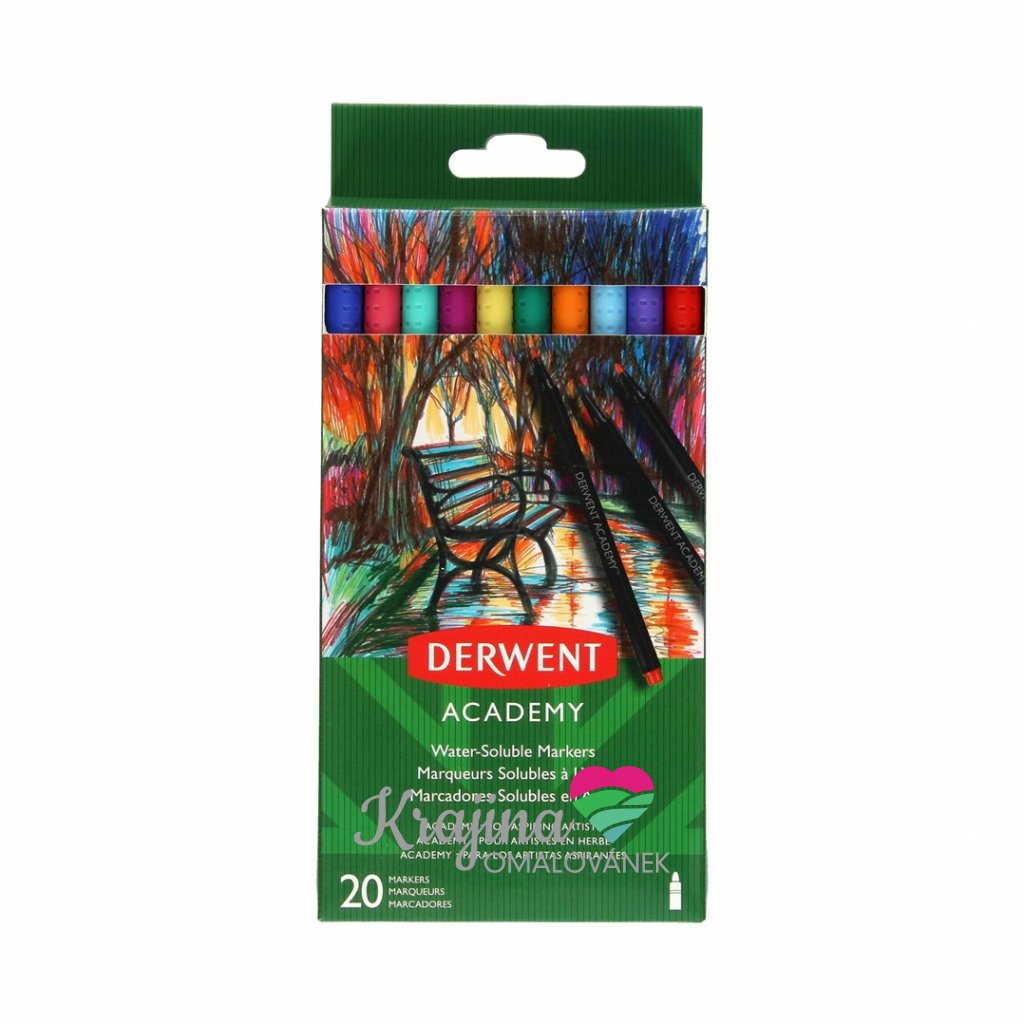 Derwent, 98202, Academy, sada akvarelových popisovačů, 20 ks