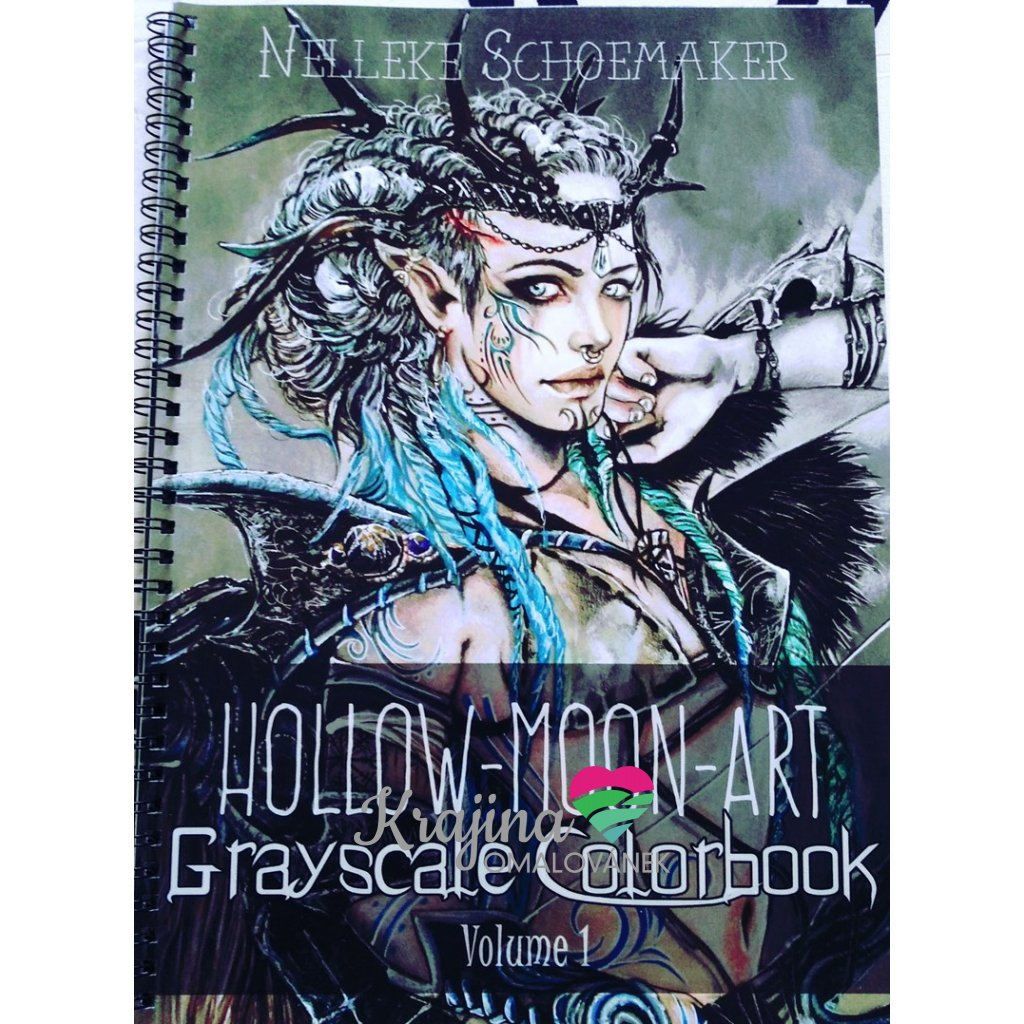 Grayscale colorbook, Hoolow-Moon-Art, Nelleke Schoemaker