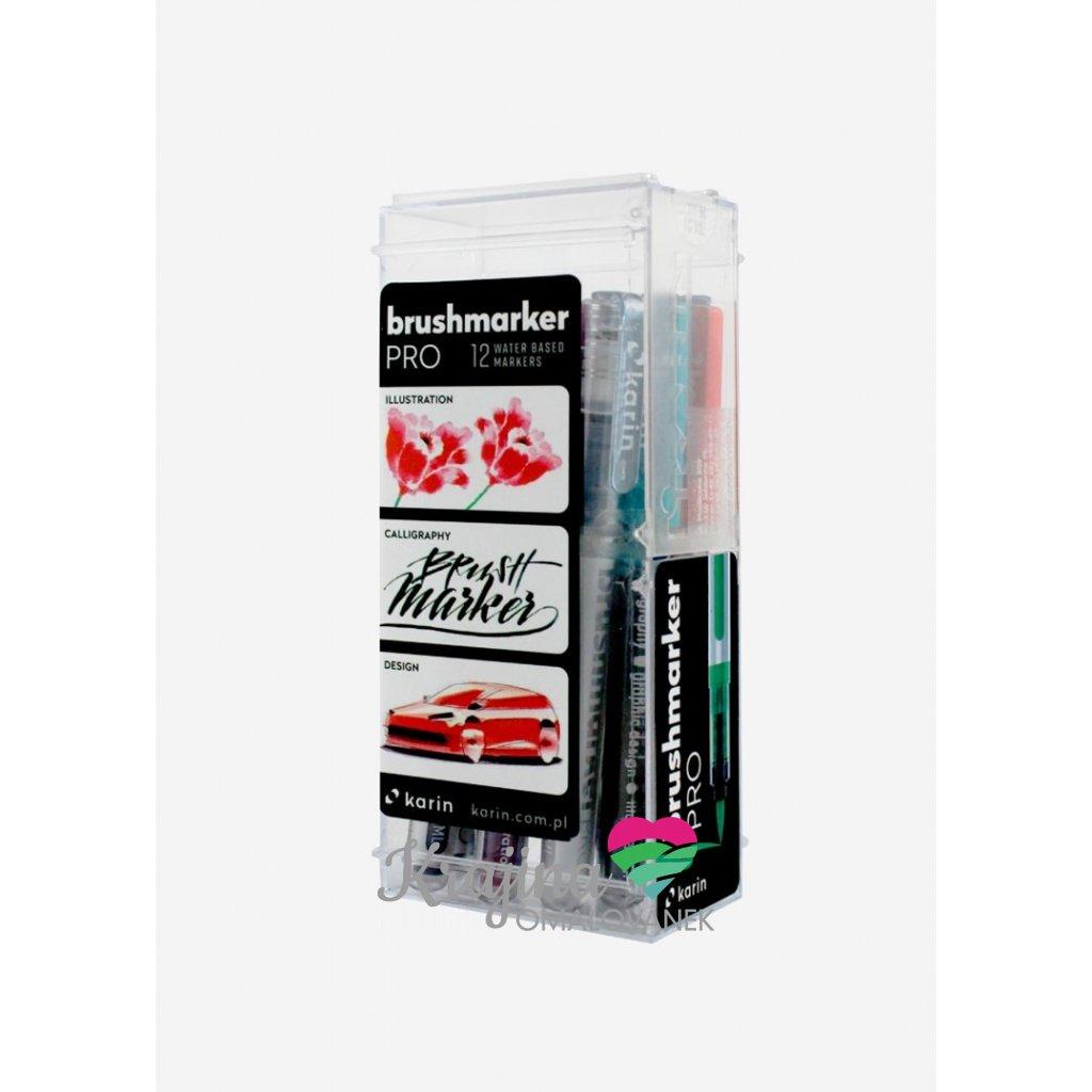 Karin, 27 C, brushmarker pro, sada štětečkových popisovačů, 12 ks, basic colours 12