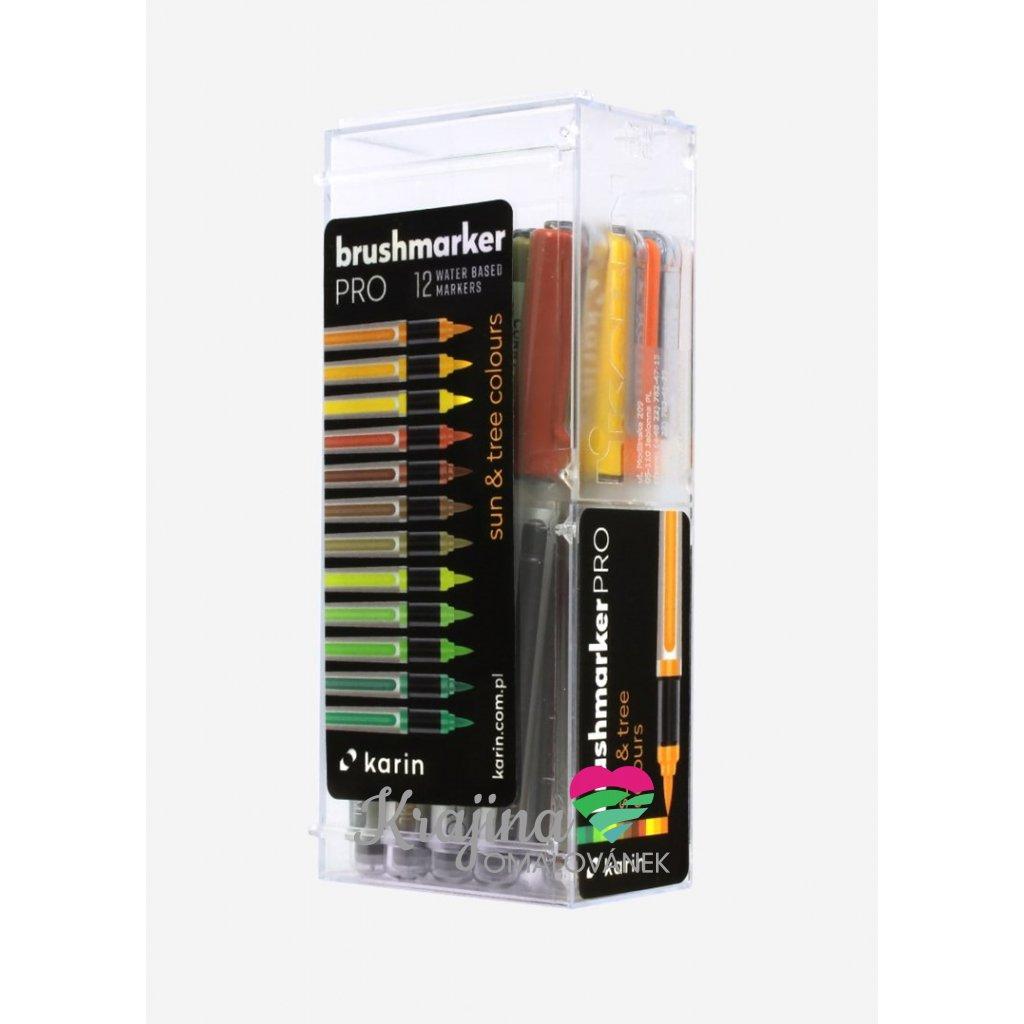 Karin, 27 C3, brushmarker pro, sada štětečkových popisovačů, 12 ks, sun&tree colours