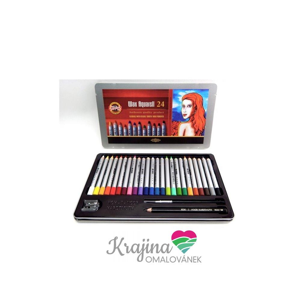 Koh-i-noor, 8284024001PL, WAX, souprava akvarelových pastelek, 24 ks