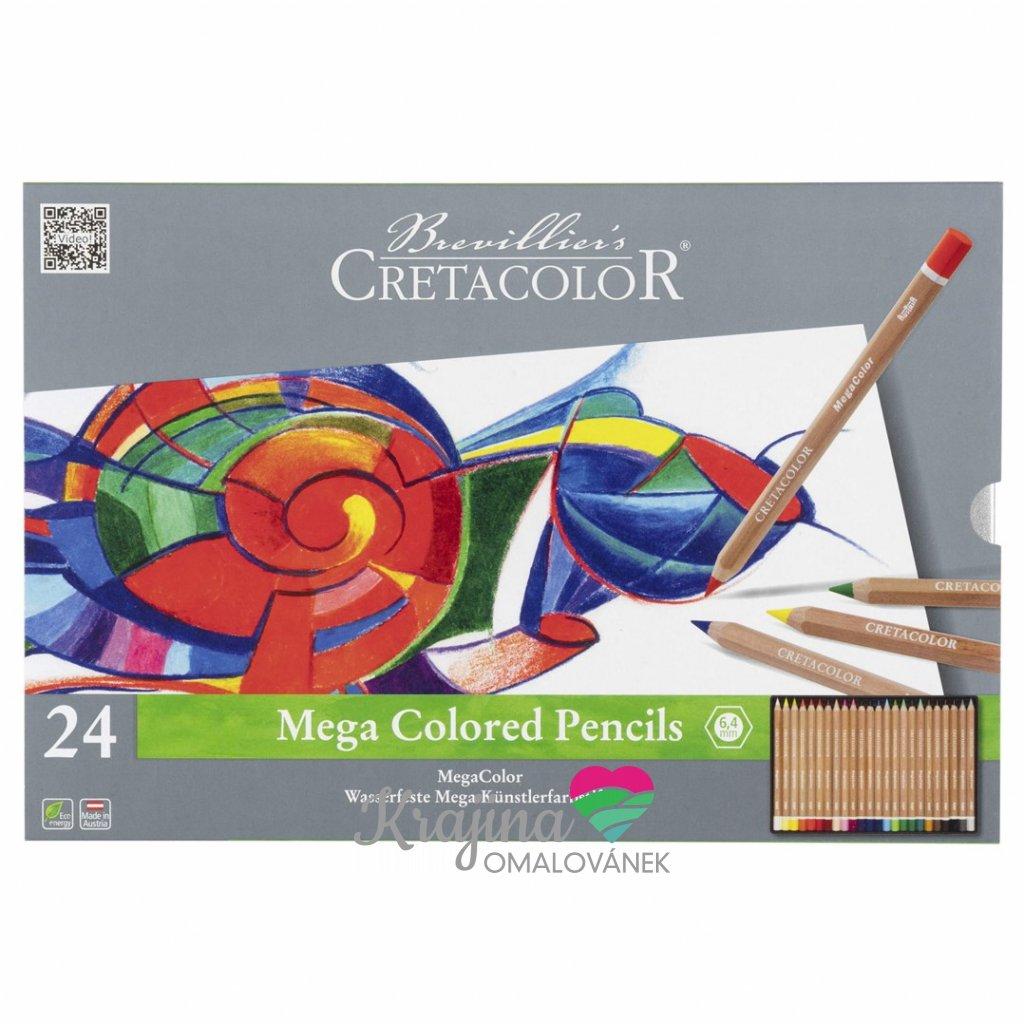 Cretacolor, 29024, Mega colored pencils, sada silných uměleckých pastelek, 24 ks