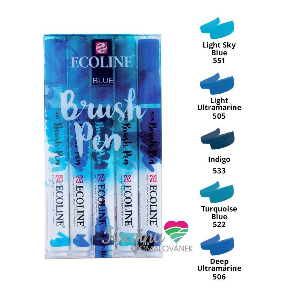 Royal Talens, 11509905, Ecoline brushpen set, sada štětečkových akvarelových popisovačů, blue, 5 ks