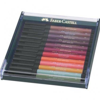 Faber-Castell, 267422, PITT artist pen, brush popisovače, podzimní odstíny, 12 ks