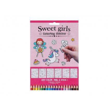 Sweet girls, W009660, samolepky k domalování, pro holčičky, 6 listů