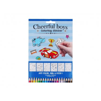 Cheerful boys, w009661, samolepky k domalování, pro kluky, 6 listů
