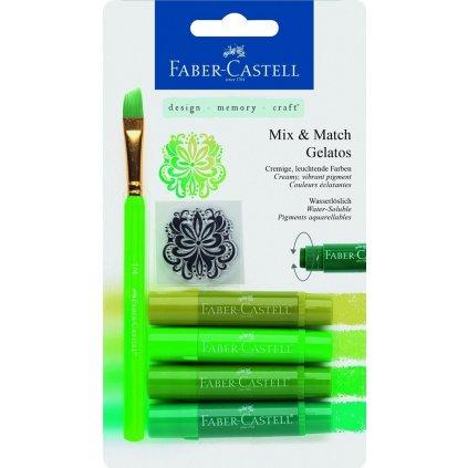 Faber-Castell, 121804,Gelatos, akvarelové křídy, 4 ks a doplňky, zelená sada