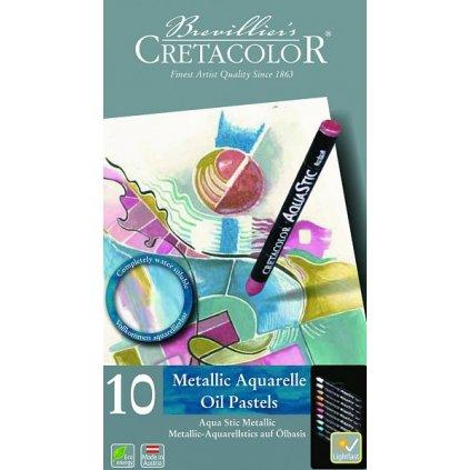 Cretacolor, 21927, Aqua Stic, akvarelové pastely, metalické odstíny, 10 ks