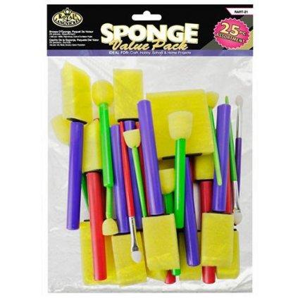 Royal & Langnickel, RART-21, sponge brush, sada pěnových štětců, 25 ks