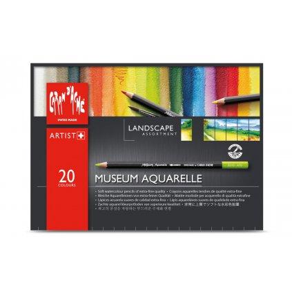 Caran d'Ache, 3510.420, Museum Aquarelle Pencils Landscape, umělecké akvarelové pastelky, sada krajina, 20 ks