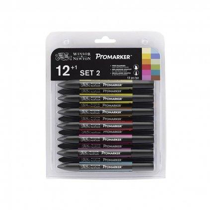 Winsor & Newton, 0290023, Promarker, umělecké popisovače z UK, verze 2, 12 ks + 1 blender