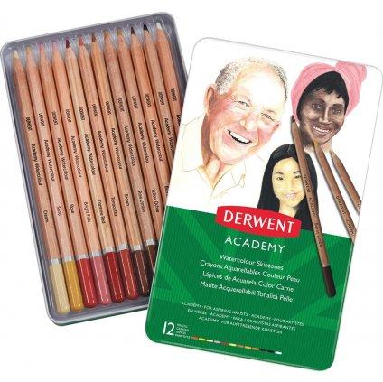 Derwent, 2300386, Academy skintones, akvarelové pastelky, 12 ks