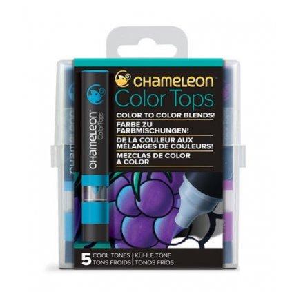CHAMELEON, CT4504, Color tops, tonovací nástavce pro popisovače,  5 ks, Cool tones