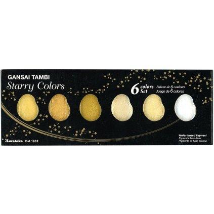 Kuretake, MC20SC/6V, Gansai Tambi, zlaté akvarelové barvy, 6 odstínů, Starry colors