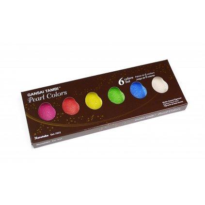 Kuretake, MC20PC/6V, Gansai Tambi, pastelové akvarelové barvy, 6 odstínů, Pearl colors