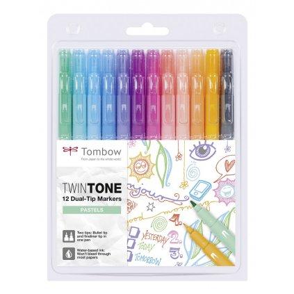 Tombow, WS-PK-12P-2, Twintone, oboustranné popisovače, Pastel tone, 12 ks
