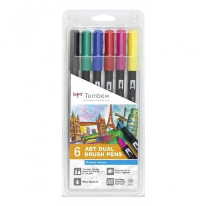 Tombow, ABT-6P-1, ABT Dual Brush pen, oboustranné popisovače, based tone, 6 ks