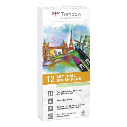 Tombow, ABT-12P-2, ABT Dual Brush pen, oboustranné popisovače, Pastel tone, 12 ks