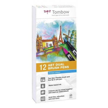 Tombow,  ABT-12P-1, ABT Dual Brush pen, oboustranné popisovače, Primary/Base tone, 12 ks